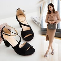 2021 Summer New style buckle suede thick heel sandals Rome high heels women's shoes
