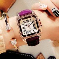 Vintage Kadın İzle Rhinestone Moda Öğrenci Kuvars Saatler Gerçek Deri Kemer Kare Elmas Inset Mineral Cam Bayan Saatı Yeni Stil