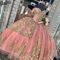 Quinceanera Dresses Pink Sweet 16 Dress With Gold Appliqued Beaded Corset lace-up Ball Gown Prom robe de princesse fille