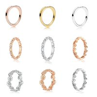 Women 925 Sterling Silver Rings Rose Gold Diy Flower Crown Heart Shape Finger Ring for Wedding Party Jewelry