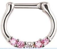 Fashion hot Five Gems Surgical Steel Septum Clicker Nose Ring Punk Women Men Zircon Nose Hoop Body Piercing ps0894