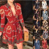 Sexy gedruckte V-Ausschnitt Kleider für Frauen Lace Up Button Down Kette Drucken Revers Neck Party Casual Langarm / ärmelloses übergroßes Modehemd