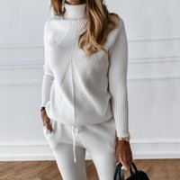 Women's Two Piece Pants Autumn Winter Tracksuit Solid Color Striped Turtleneck Sweater And Elastic Trousers Suits Knitted Set