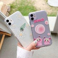 Capa de telefone de pêssego de flor bonito para Huawei P20 Lite P30 P40 Pro Nova 3 4 5 6 5T Y9 2019 Mate 20 30 para honra 8x 20 macio tampa traseira
