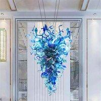 ضوء الفاخرة الزجاج الأزرق الثريات الأضواء المنفصلة معيشة h otel الديكور الإضاءة الخالص اليدوية قلادة مصابيح الثريا