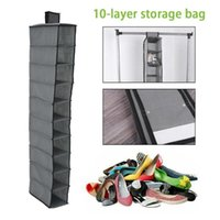 Storage Bags 10 Layer Hanging Bag Shoe Drawer Box Shelves Rack Organizer Clothes Wardrobe Closet Door Wall Clear Sundry Hanger Pouch