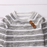 Clothing Sets 3 Piece Long Sleeve Stripe Buttons Decor Sweatshirt Top,Striped Pant With Hat Set For Baby Boy Autumn Clothes