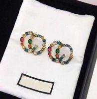 패션 컬러 CZ 스터드 귀걸이 여성 파티 웨딩 약혼 애호가 선물 보석 상자