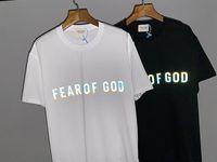 Мужчины дизайнерские футболки хип-хоп туман футболка женское качество повседневное хлопок отражательная высокая улица страх божьей футболки письмо печатание