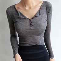 Uzun Kollu Kadın Tee Gömlek Seksi 2021 Casual Düğme T-shirt Kadın Kore Pamuk Slim Fit Temel Kadın Tops Kış Güz Kış YENI