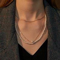 Chokers 3 pcs / Set Mode Minimaliste Collier de perles de couleur or imitation de couleur d'or pour femmes bijoux de fête de clavicule multicouches