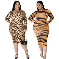 الصيف المرأة زائد الحجم فساتين 2XL-6XL كبير النمر النمر طباعة الأوروبية والأمريكية طويلة الأكمام