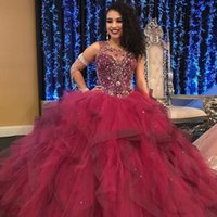 Burgundy Ruffles Princess Quinceanera Dresses Jewen Neck Beaded Sequin Sweet 15 Dress Puffy Skirt Lace Up Prom Party Gown
