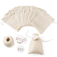 1set Burlap Packing Pouches Drawstring Bags With Jewelry Display Kraft Paper Price Tags And Hemp Cord Twine String For jllynT