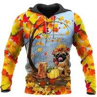 Men's Hoodies & Sweatshirts Tops Cute Pug And Autumn Leaves 3D Overall Printed Hooded Pullover Harajuku Casual Zipper Hoodie Unisex Sweatshi
