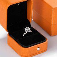 Luxus Solitaire 1CT Labor Diamant Ring 100% Echt 925 Sterling Silber Engagement Hochzeit Band Ringe Für Frauen Braut Party Schmuck Y0611