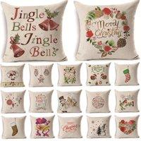 Jingle de Noël Bells Bells Motif Coton Linge Linge De Coussin Coussin Coussin Coussin Voiture Home Canapé Taie d'oreiller décoratif
