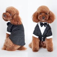 Dog Apparel Pet Cat Clothes Prince Wedding Suit Tuxedo Bow Tie Puppy Coat S M L XL XXL 5 Sizes For Large Small Dogs