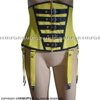 Żółte i czarne wykończenia seksowne gorsety lateksowe z sznurowaniem przednich tylnych pasów zamek gumowych bustiers do góry 0020