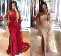 Fashion Red Champagne One shoulder Prom Bridesmaid Dresses Mermaid with Cape Robe Lace Side Slit Sequins Beaded Long Party Pageant Evening Formal Gowns
