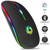 Mouse sem fio Bluetooth RGB Recarregável Rato Sem Fio Computador silencioso LED Backlit Ergonomic Gaming Mouse para Laptop PC
