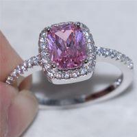 Mode 925 Sterling Silber Set mit quadratischem Rosa simuliert Diamant Zirkon Ring Engagement Hochzeitsband Schmuck für Frauen