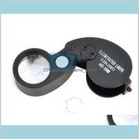 Folding 40X 25Mm Glasses Magnifier Jewelry Watch Compact Lupa Led Light Lamp Magnifying Glass Microscope Lupas De Dumento Loupe Nlcuk Lgmri