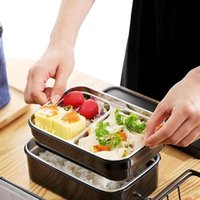 Dinnerware Sets Japanese Kids Adult Lunch Box Double Layer Water Injection Heating 304 Stainless Steel Student Bento Lunchbox Container