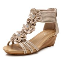 Sandals Women Bohemian Boho Ethnic Lace Flower Floral Ankle Wrap Strappy Wedge Narrow Band Rome Shoes Plus Size