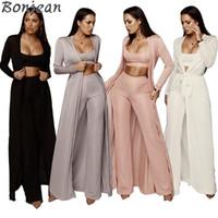 Bonjean Sonbahar Seksi Iki Parçalı Set Üst Ve Pantolon Spagetti Kayışı 3 Parça Set Kadın Bandaj Parti Kıyafetler Romper Kadın Tulum