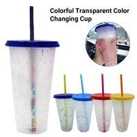 أكواب 1 / 5PCS 700ML اللون تغيير corpetti قابلة لإعادة الاستخدام البلاستيك بهلوان البلاستيك مع غطاء وسترو كوب الباردة drinkware المطبخ