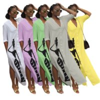 Carácter impresión casual más tamaño vestido mujer moda doble lado división suelto vestido primavera manga larga botones maxi blusas bata