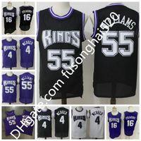 Expédition rapide de haute qualité rétro Jason 55 Williams Basketball Jerseys # 4 Chirs Speakber Shirts Peja 16 Stojakovic Jersey pas cher Jersey cousu