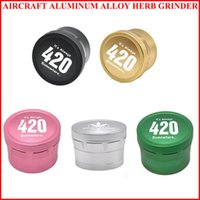 Aircraft Aluminum Alloy Grinder Bag 420 Logo Herb Grinders for Dry Herbal Smoking Tools 4 Parts Layers 63mm Spice Crusher