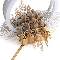 Tarjetas de felicitación Tarjeta de estuche 3D de anillo de diamante huecas con sobre para la boda TN99