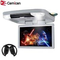 Vidéo de voiture Cemicen 15.6 pouces HD 1080p montage moniteur Toiture Flip Down DVD Lecteur DVD avec Port HDMI USB SD Construit dans l'émetteur IR / FM