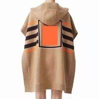 Damska dzianina z kapturem Cape Szal Jesień i Moda Zima Wysokiej Jakości Klasyczny Luźny Sweter Brand Luxury Designer Odzież