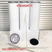 SUBLIMATION DE 20OZ 30OZ Impression laser vierge Blanc Straight Straws Tock Tasse Coupes en acier inoxydable Flacons d'eau à double mur double paroi avec logo personnalisé