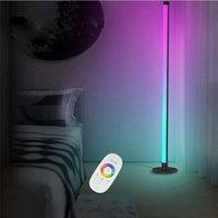 현대 플로어 램프 LED 서 코너 조명 검은 장식 RGB 색상 거실 파티에 대 한 분위기 조명