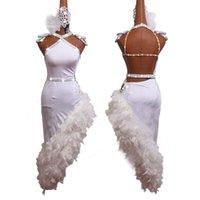 New Women Latin Dance Vestido de alta calidad de alto grado Diamante Diamante Vestidos irregulares para las niñas de las damas Disfraz de rendimiento de la danza latina