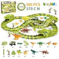 Бургкидз Динозавр Железнодорожная игрушка Автомобильная дорожка для Leo Строительные блоки Игрушки для детей X0127