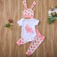 Clothing Sets Baby & Children's Easter Summer Toddler Boy Romper Bodysuit+Pants Hat Outfits Clothes Set