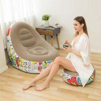 Graffiti-stil faul aufblasbares sofa mit pedalkombination aufblasbare lounger recliner tragbares büro nap sofa outdoor home lei