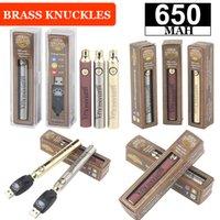 2021 Brass Knuckles Battery 650mAh Gold Wood Slivery Preheat Adjustable VV Voltage Vape Pen Batteries BK 510 Thread Cartridges