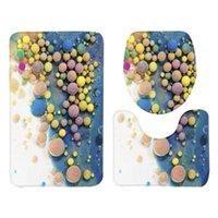 1 مجموعة من 3 قطع 75x45 سنتيمتر حمام حصيرة اللوازم 3d مطبوعة الكلمة حصيرة المرحاض البساط الغطاء