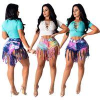Kadın Jean Şort Püskül Zayıflama Kravat Boyalı Denim Tasarımcı Kadın Kot Rahat Pantolon S-3XL Baskılı Yaz Elbiseler
