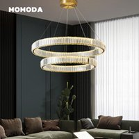 Chandeliers Luxury LED Lighting Modern Crystal Stainless Steel Gold Chrome Round Pendant Hanging Lamps Bedroom Living Room Light