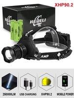 헤드 램프 300000 LM XHP90.2 LED 헤드 라이트 XHP90 높은 전원 헤드 램프 토치 USB 18650 충전식 XHP70 라이트 XHP50.2 줌 헤드 램프
