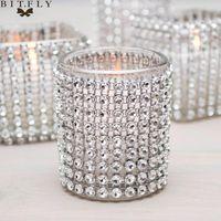 Party Dekoration 1 Yard DIY Silber Farbe Diamant Mesh Strass Wraps Ribbon Hochzeit Brautgeburtstag Home Decorations Ereignis Lieferungen