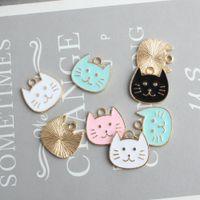 Japão Kawaii Cat Cabeça Encantos Esmalte Animal Charme Para Jóias Fazendo Diy Moda Brinco Pingente
